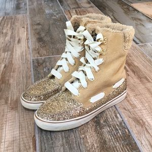 Sperry Top-Sider Suede Gold Glitter Faux Fur